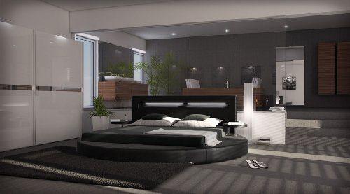 SAM® Polsterbett Rundbett Sanctuary in schwarz 160 x 200 cm, inklusiv 2 Nachttischablagen, Kopfteil mit Beleuchtung, modernes abgerundetes Design, teilzerlegt Auslieferung durch Spedition