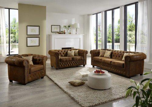 SAM® Polstergarnitur wildlederlook Gobi braun Chesterfield YORK 3-2-1 Sofa exklusiv komfortabel pflegeleicht Lieferung erflogt über Spedition montiert