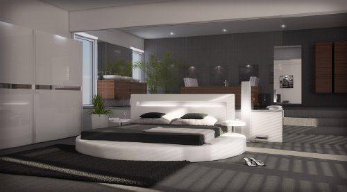 SAM® Rundbett Sanctuary weiß 200 x 200 cm Bett mit LED Beleuchtung an der Kopfleiste inklusive Nachttisch hochwertige Verarbeitung Lieferung mit Spedition teilzerlegt