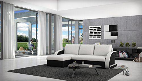 SAM® Schlafsofa ANTIGONA weiß schwarzes Ecksofa 145 x 238 cm Ottomane links in futurisitschem Design mit einer pflegeleichten Oberfläche Lieferung per Spedition