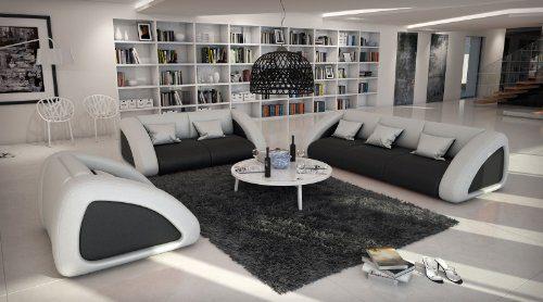SAM® Sofa Garnitur Ciao Combi 3-2-1 schwarz /weiß / weiß designed by Ricardo Paolo Wohnlandschaft futuristisch Wohnzimmer Sofa Landschaft mit Dreisitzer Zweisitzer und Sessel Oberfläche pflegeleicht Lieferung mit Spedition Artikel ist montiert