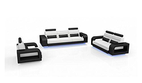 SAM® Stilvolle Sofa Garnitur New York Combi 3 - 2 - 1 schwarz / weiß Wohnlandschaft mit Dreisitzer, Zweisitzer und Sessel pflegeleichte Oberfläche bequeme Polsterung und modernes Design Kopfstütze Lieferung per Spedition