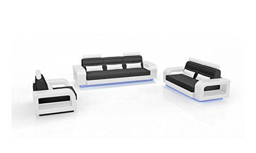 SAM® Stilvolle Sofa Garnitur New York Combi 3 - 2 - 1 weiß / schwarz Wohnlandschaft mit Dreisitzer, Zweisitzer und Sessel pflegeleichte Oberfläche bequeme Polsterung und modernes Design Kopfstütze Lieferung per Spedition