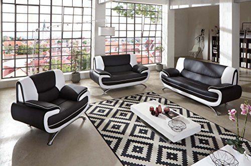 SAM® Stilvolle Sofa Garnitur Passero Combi 3 - 2 - 1 schwarz / weiß Wohnlandschaft mit Dreisitzer, Zweisitzer und Sessel pflegeleichte Oberfläche bequeme Polsterung und modernes Design Kopfstütze Lieferung per Spedition