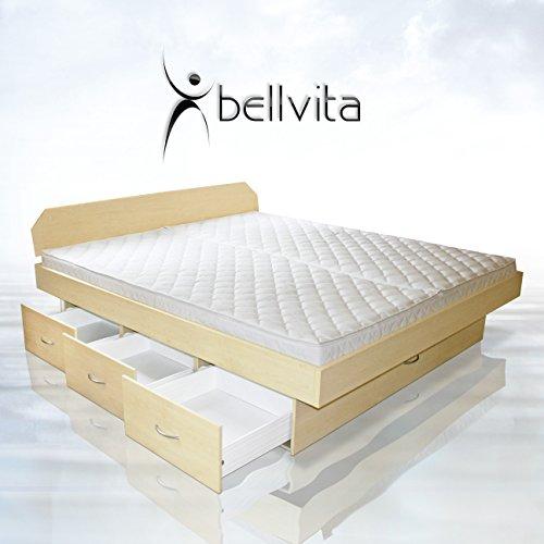 SONDERAKTION bellvita Wasserbett mit Schubladensockel in Komforthöhe, Bettumrandung mit Aufbau, ahorn, 200 cm x 220 cm