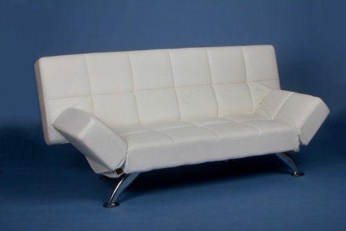 Schlafsofa Bettsofa Bettcouch Schlafcouch Sofa Couch Leder Optik weiß