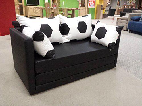 Schlafsofa Couch Sofa Fussball Look weiss schwarz