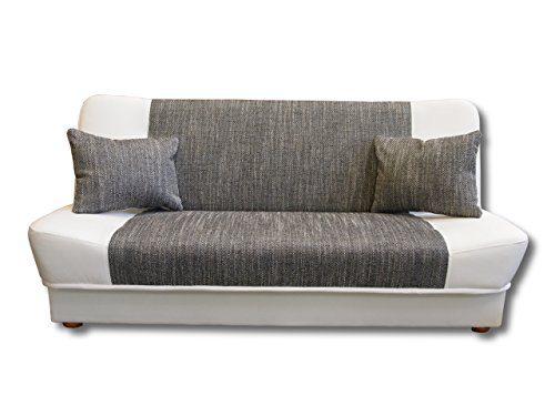Schlafsofa Funktionssofa Sofa Bett Strukturstoff grau Kunstleder weiss incl. Kissen mit Bettkasten Neu