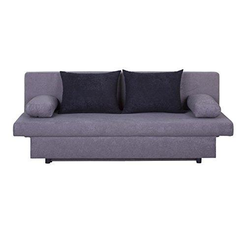 Schlafsofa Schlafcouch 2-Sitzer Sofa ZOE, in grau/schwarz, mit Bettkasten und Kissen, Microfaserbezug
