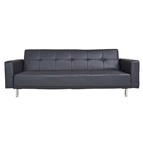 schlafsofa schlafcouch 3 sitzer luvia kunstleder in schwarz mit schlaffunktion m bel24. Black Bedroom Furniture Sets. Home Design Ideas