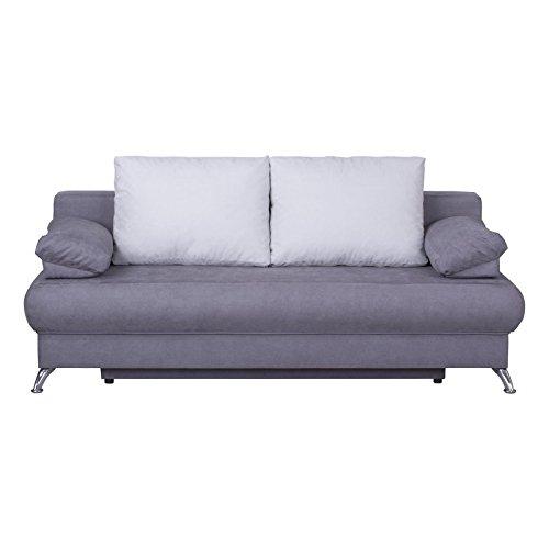 Schlafsofa schlafcouch sofa zoe 2 sitzer in grau mit for 2 sitzer schlafsofa bettkasten