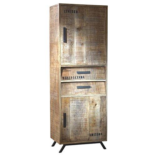 schrank hochschrank romsdal retro vintage design massivholz mangoholz natur breite 60 cm. Black Bedroom Furniture Sets. Home Design Ideas