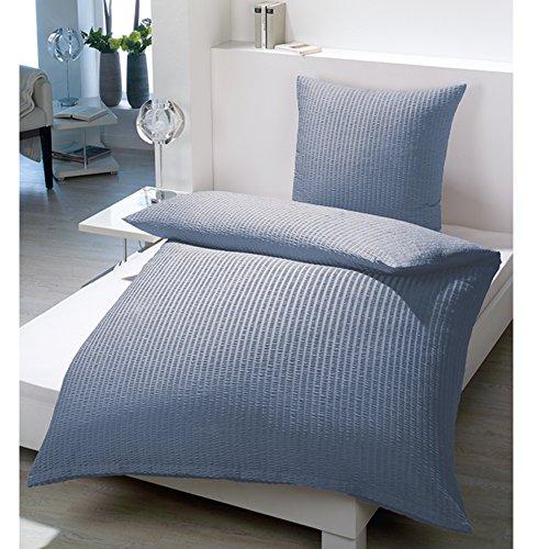 Seersucker Bettwäsche 2tlg. Microfaser 135cm x 200cm Bett Garnitur Bettenset Set (Rauch Blau)