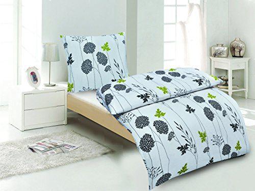 Seersucker Bettwäsche 4-tlg. weiss/grau/grün, 100%Baumwolle, 2x 135x200 Bettbezug + 2x 80x80 Kissenbezug , Öko-Tex Standart 100