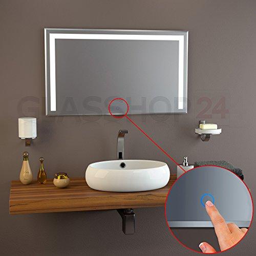 Sensor LED-Spiegel | 1200 x 700mm - Badspiegel beleuchtet | 10mm Facette | M2