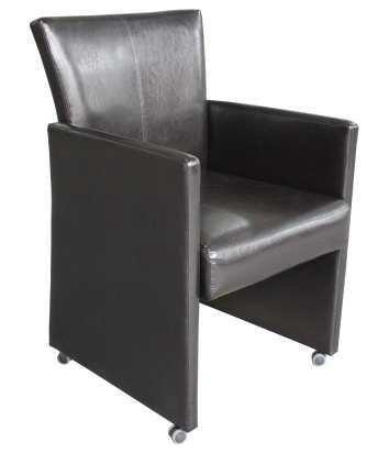 sessel aus kunstleder auf rollen leder optik braun. Black Bedroom Furniture Sets. Home Design Ideas