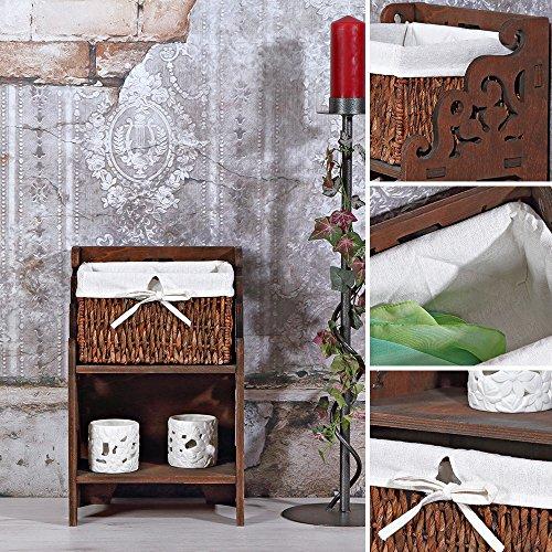 shabby nachtkonsole mit staufach und korb aus holz schlafzimmer kommode braun m bel24 xxl m bel. Black Bedroom Furniture Sets. Home Design Ideas