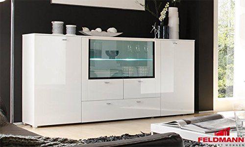 Sideboard Anrichte 440922 weiß Hochglanz MDF / schwarz 200cm