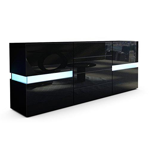 Sideboard Kommode Flow in Schwarz matt / Schwarz Hochglanz inkl. LED Beleuchtung