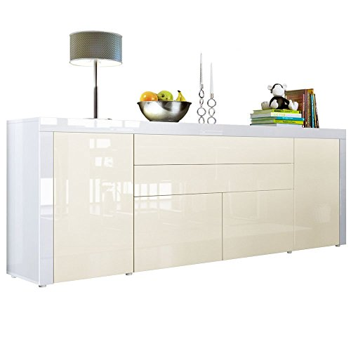 sideboard kommode la paz v2 in wei hochglanz creme. Black Bedroom Furniture Sets. Home Design Ideas