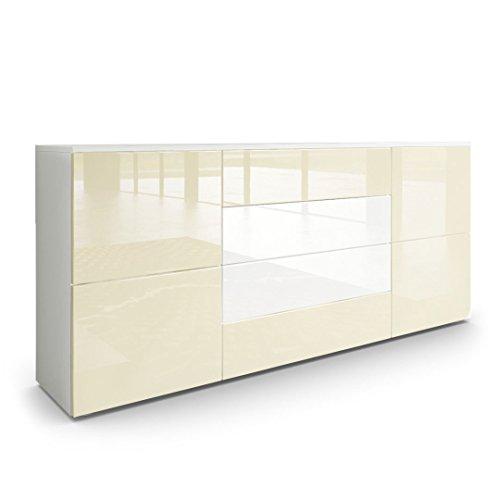 Sideboard Kommode Rova in Weiß matt / Creme Hochglanz / Weiß Hochglanz