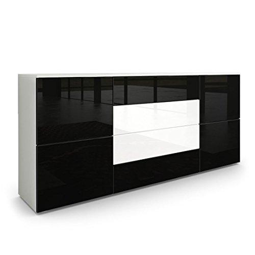 Sideboard Kommode Rova in Weiß matt / Schwarz Hochglanz / Weiß Hochglanz
