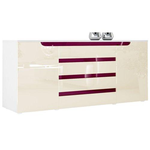Sideboard Kommode Sylt V2 in Weiß / Creme Hochglanz mit Absetzungen in Brombeer Hochglanz
