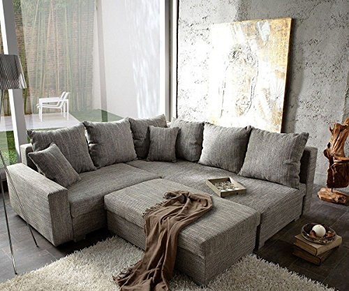 sofa lavello couch hellgrau 210x210 mit hocker ottomane rechts ecksofa m bel24. Black Bedroom Furniture Sets. Home Design Ideas