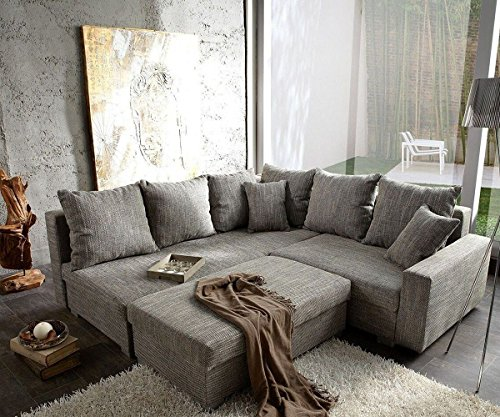 sofa lavello hellgrau 210 210 cm couch mit hocker ecksofa. Black Bedroom Furniture Sets. Home Design Ideas