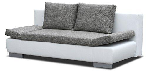 Sofa Leandro in grau / weiß mit Bettfunktion und Staukasten - Abmessungen: 203 x 95 cm (B x T)