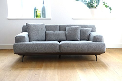 sofa lendum 2er grau webstoff big xxl couch garnitur 4 kissen modernes design stoff m bel24. Black Bedroom Furniture Sets. Home Design Ideas