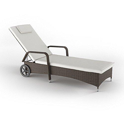 sonnenliege polyrattan mit r dern gartenliege relaxliege strandliege inkl auflage braun m bel24. Black Bedroom Furniture Sets. Home Design Ideas