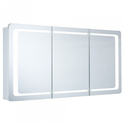 Spiegelschrank Galdem ROUND120 / Badezimmerschrank 120cm / 3 türig / mit LED - Beleuchtung / Softclose Funktion / Steckdose / Badezimmer Spiegel auch als Flurspieg