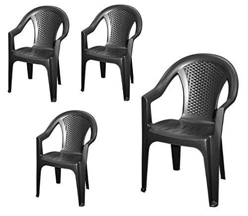 stapelbarer gartenstuhl in anthrazit 4er set monoblock in rattan optik aus kunststoff. Black Bedroom Furniture Sets. Home Design Ideas