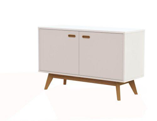 Tenzo 2172-001 BESS Designer Sideboard, lackiert, matt, Untergestell massiv, 72 x 114 x 43 cm, weiß / eiche, (HxBxT)