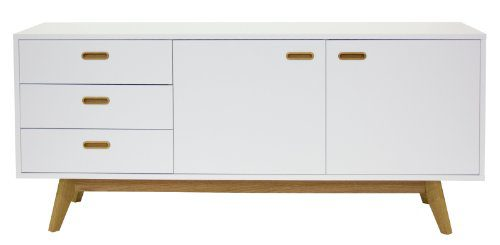 Tenzo 2175-001 Bess - Designer Sideboard, Untergestell Eiche massiv, 72 x 170 x 43 cm, weiß / eiche / lackiert matt