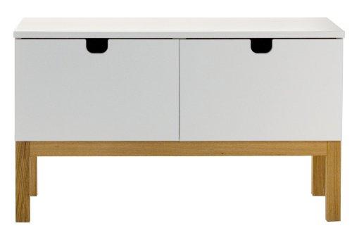 Tenzo 3502-001 Kubus - Designer Lowboard weiß / eiche, MDF lackiert matt, Untergestell Eiche massiv, 54 x 92 x 43 cm