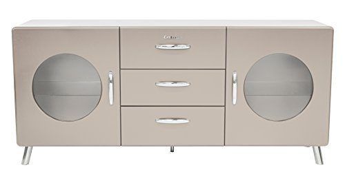 Tenzo 4933-083 Cobra Designer Sideboard, 73 x 163 x 43 cm, MDF lackiert, warm grey