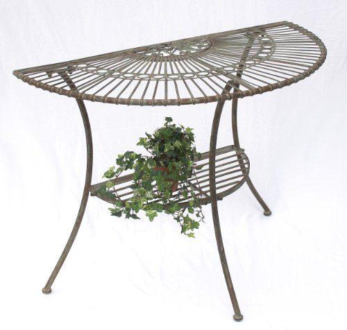 """Tisch Wandtisch """"Malega"""" 100531 Beistelltisch aus Metall 100cm Gartentisch Halbrund"""