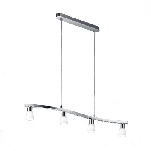 Trio-Leuchten Halogen/LED-Pendelleuchte in nickel matt/chrom, Glas weiß satiniert, inklusiv 4x G9 28W + 27x LED 0.06W, Breite: 30 cm, Höhe: 120 cm 321910407
