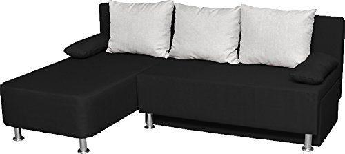 """VCM 900063 Ecksofa """"Magota"""" Couch mit Schlaffunktion, schwarz"""
