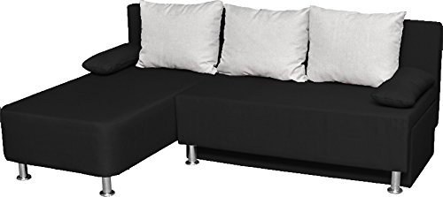 vcm 900063 ecksofa magota couch mit schlaffunktion schwarz m bel24. Black Bedroom Furniture Sets. Home Design Ideas