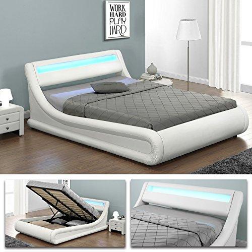 VIRGINIA Weiss Doppelbett LED Polsterbett Gasdruckfeder Bett Lattenrost Kunstleder (180 x 200)
