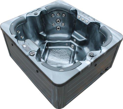 Vasa-Fit, Whirlpool W180, Jacuzzi, Whirlpool aus hochwertigem Sanitäracryl für 4 Personen in SkyBlack