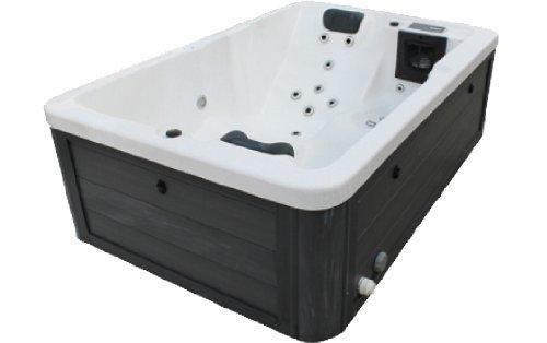 Vasa-Fit, Whirlpool W195, Jacuzzi, Whirlpool aus hochwertigem Sanitäracryl für 2-3 Personen in SkyBlack