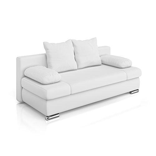 Vicco Schlafsofa Couch Sofa PU Leder Chicago Federkern Schlafcouch Bett weiß