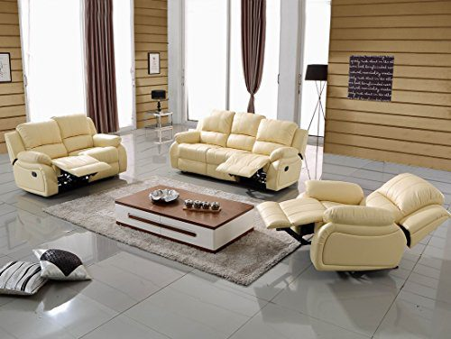 Voll-Leder Couch Relaxsofa Sofa Relaxsessel Fernseh-Sessel 5129-3+2+1-317