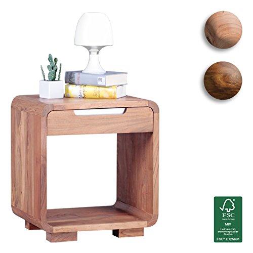 wohnling design nachttisch massivholz akazie nacht kommode 50 cm mit schublade boxspringbett. Black Bedroom Furniture Sets. Home Design Ideas