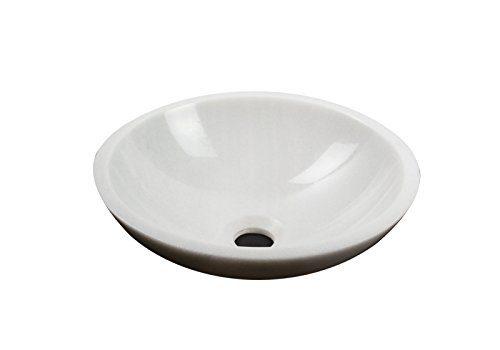 Waschbecken Waschschale rund 100% weiss Marmor Aufstazwaschbecken Handwaschbecken Naturstein, Durchmesser 33cm