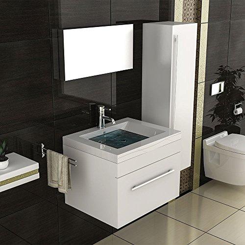 badm bel set mit hochschrank waschbecken mineralguss becken unterschrank hochglanz wei bad. Black Bedroom Furniture Sets. Home Design Ideas